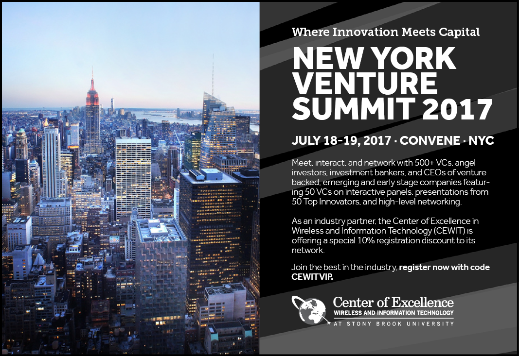 CEWIT Special Invitation: The New York Venture Summit 2017, July 18-19, 2017, Convene, NYC